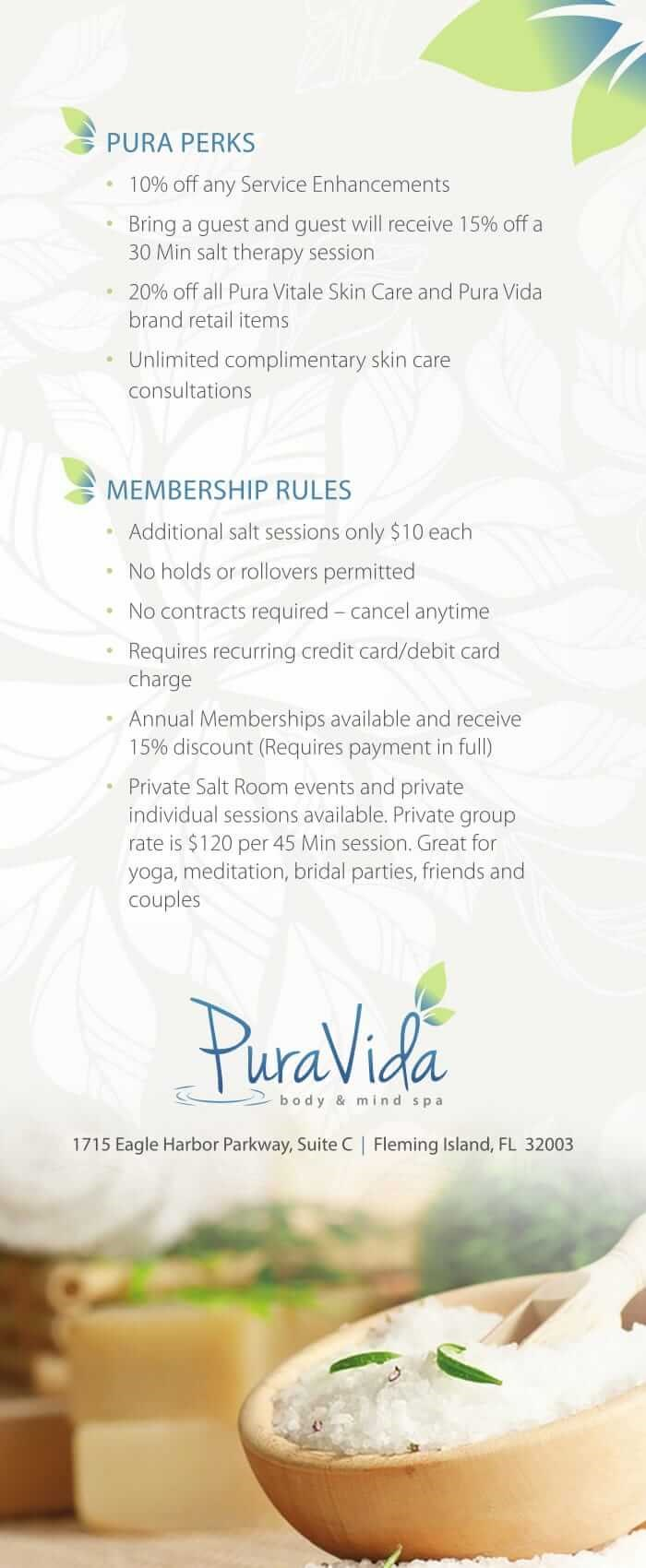 Pura Vida Rack Card SALT Memberships